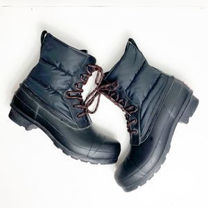 Hunter Quilted Lace Up Snow Boots Black US9 Fleece